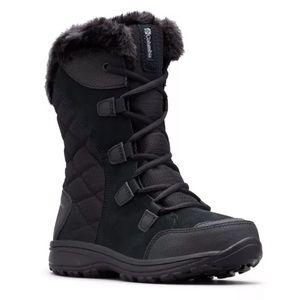Columbia Ice Maiden II Waterproof Winter Boots Suede Nylon Faux Fur Lace Up